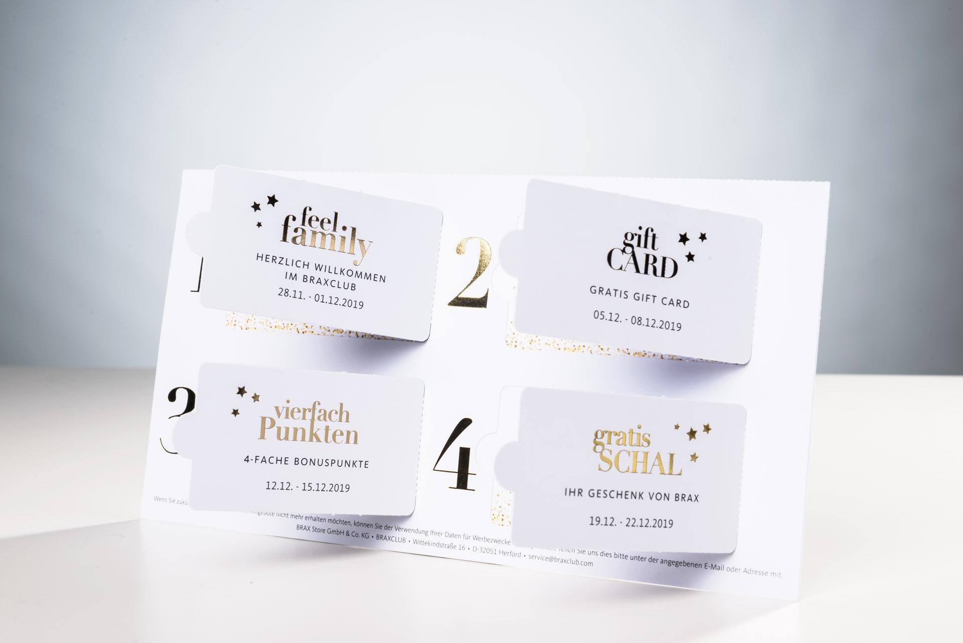 TwinCard Brax mit vier Kläppchen und Goldfolien-Veredelung